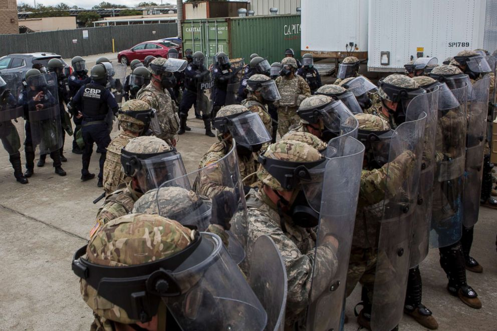 PHOTO: U.S. Soldiers with 93rd Military Police Battalion, Special Purpose Marine Air-Ground Task Force 7, and U.S. Customs and Border Protection (CBP) officers train at the Otay Mesa Port of Entry in California, Dec. 6, 2018.