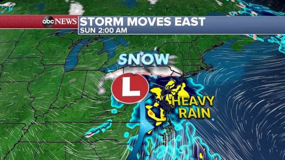 PHOTO: The southern storm will move up the East Coast Saturday night and will bring heavy rain from Washington, D.C. to New York City and Boston and heavy snow to northern New England.