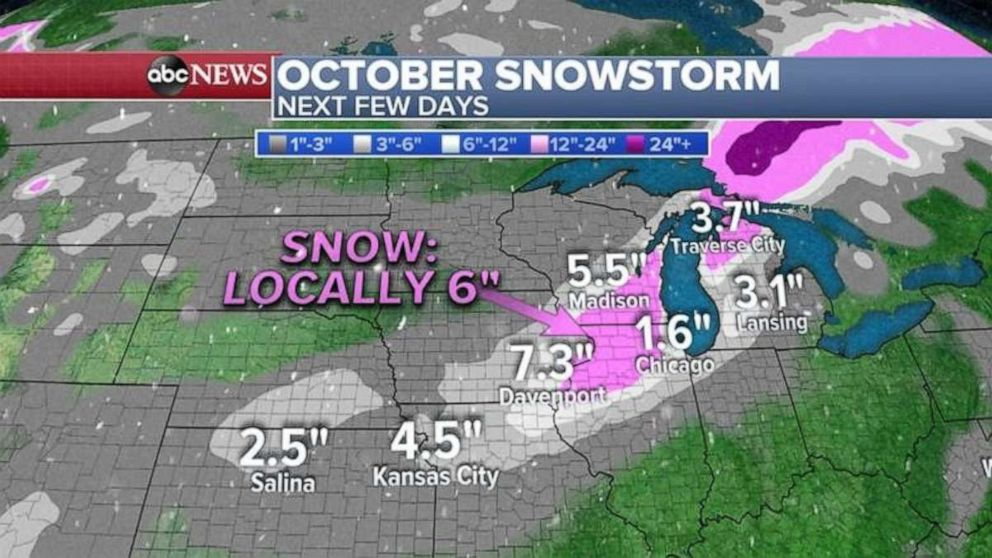 PHOTO: Some areas could see up to a half foot of snow just west of Chicago and into southern Wisconsin.