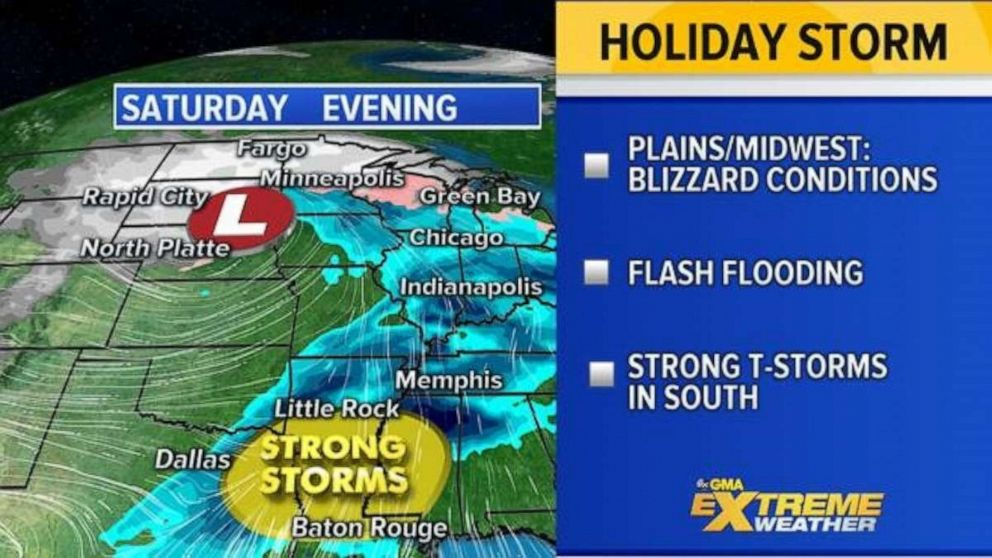 PHOTO: By Saturday the major Western storm is moving into the Central U.S. stretching from the Northern Plains to the Gulf Coast with heavy snow, heavy rain, and severe weather.