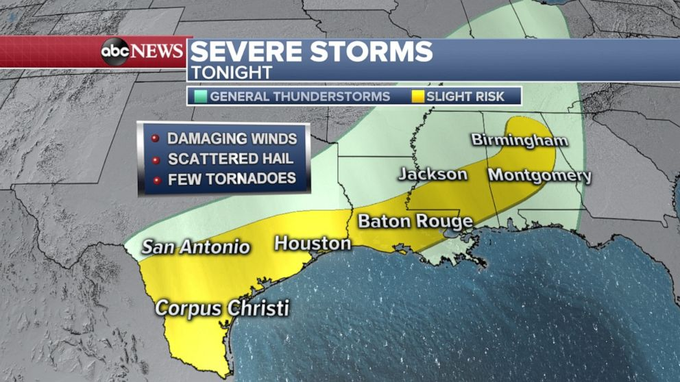 PHOTO: Severe storm threat stretches from Texas to Alabama on Thursday