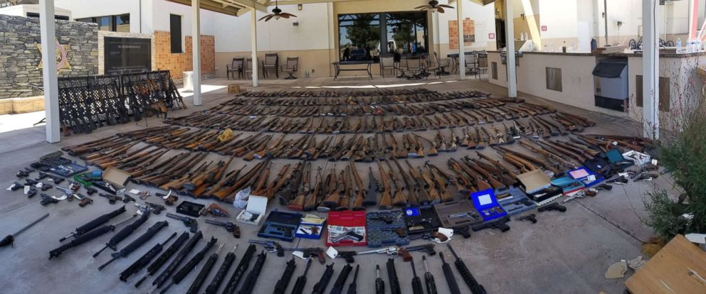 Los Angeles County Sheriffs Department seized 553 guns from a convicted felon in Agua Dulce, Calif., last week.