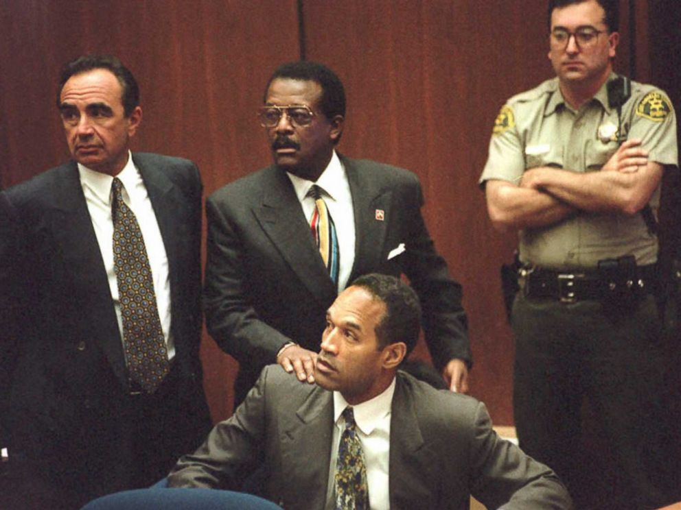 PHOTO: OJ Simpson is seen with his legal team during the opening of the double homicide trial on January 5, 1995.