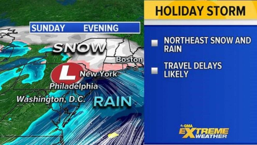 PHOTO: By Sunday the major storm continues to move across the country and reaches the Northeast with a mix of rain and snow.
