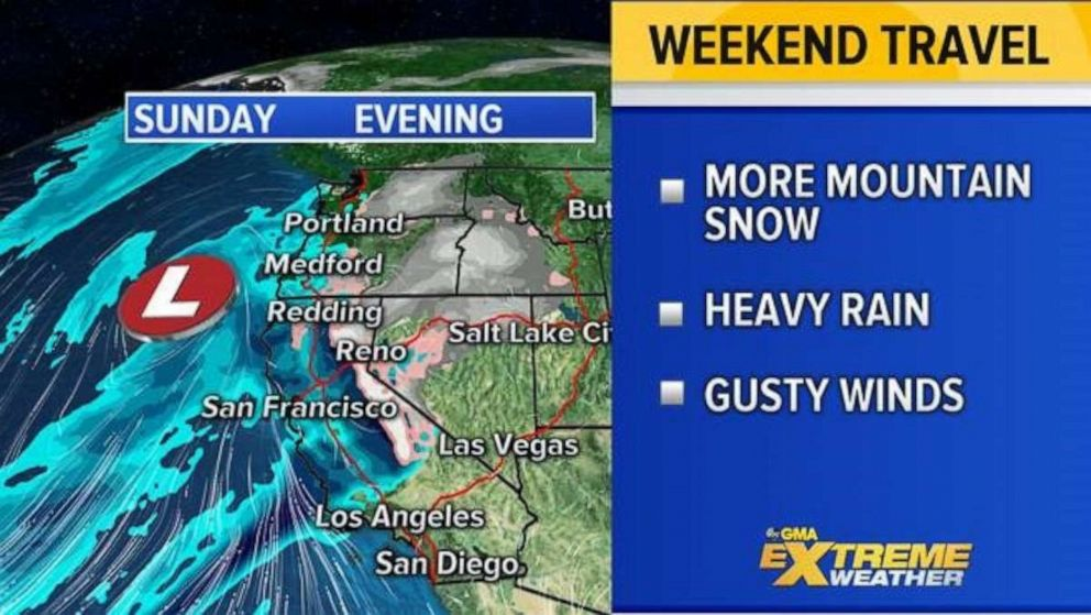 PHOTO: The West Coast will likely be seeing yet a new round of unsettled weather to impact holiday travel for them on Sunday.