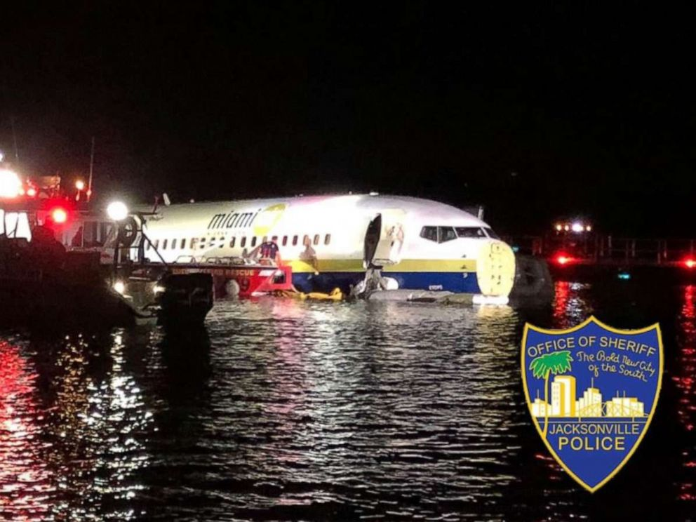 PHOTO: A 737 contracted by the Department of Defense skidded off a runway in Jacksonville, Fla., on Friday, May 3, 2019. No one was seriously injured.