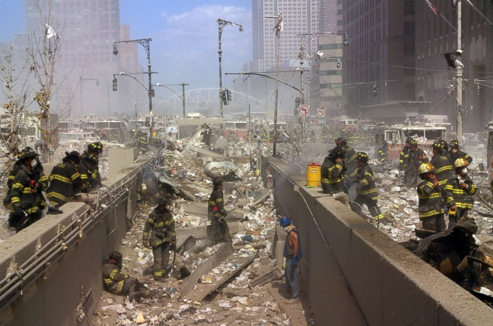 PHOTO: New York City firefighters working amid the rubble of the World Trade Centre following the attacks, Sept. 11, 2001.