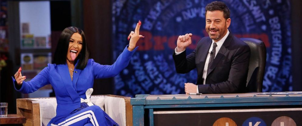 "PHOTO: Rapper Cardi B sat down for an interview on ""Jimmy Kimmel Live"" on Wednesday, Oct. 17, 2018."