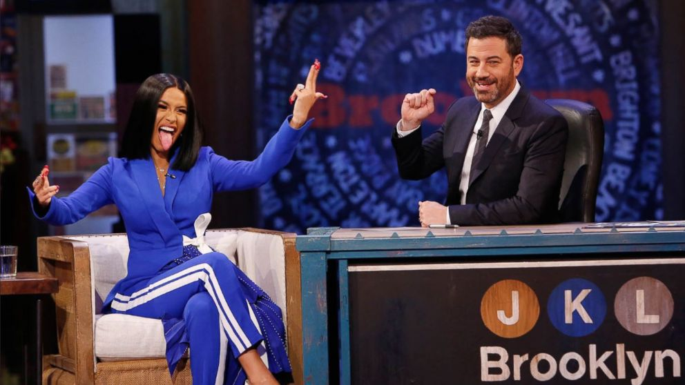 "Rapper Cardi B sat down for an interview on ""Jimmy Kimmel Live"" on Wednesday, Oct. 17, 2018."