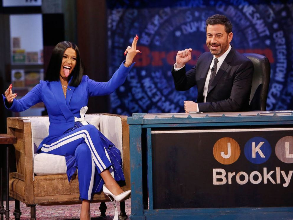 PHOTO: Rapper Cardi B sat down for an interview on Jimmy Kimmel Live on Wednesday, Oct. 17, 2018.