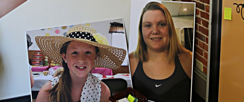 PHOTO: Photos of Abby Williams, left, and Libby German, right, at police headquarters in Delphi, Indiana.