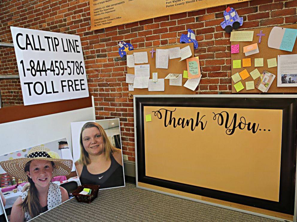 PHOTO: Photos of Abby Williams, left, and Libby German, right, are displayed at police headquarters in Adelphi, Indiana.