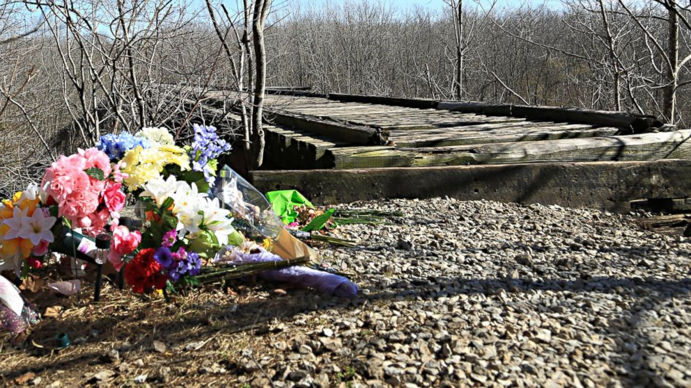 A makeshift memorial for Abby Williams and Libby German next to a trail they were hiking the day they disappeared, Feb. 13, 2017, in Delphi, Indiana.