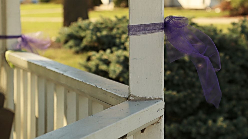 A ribbon in Delphi, Indiana, for teens Abby Williams and Libby German, who were killed in Feb. 2017.