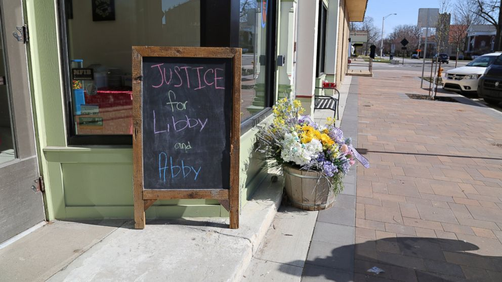 A sign in Delphi, Indiana, for teens Abby Williams and Libby German, who were killed in Feb. 2017.