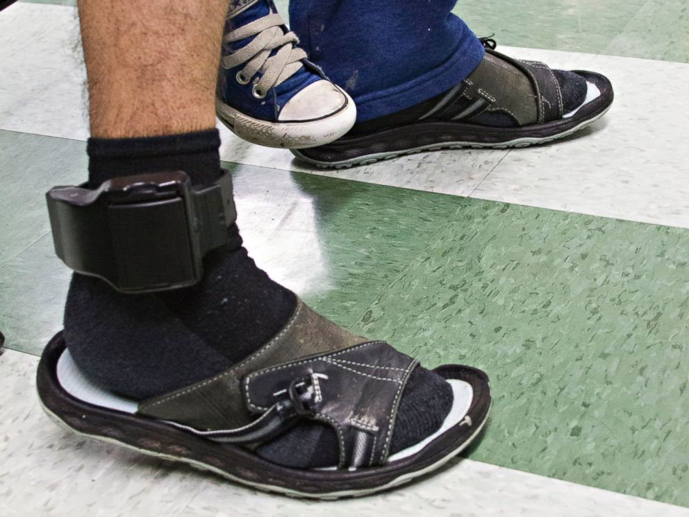 PHOTO: Javier Flores Garcia wears an ankle bracelet that allows Immigration and Customs Enforcement (ICE) to know where he is at all times.