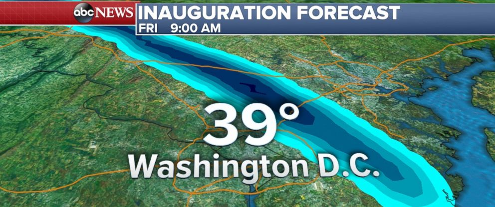 PHOTO: Rain1: Inauguration Weather Forecast at 9AM for Washington, D.C.