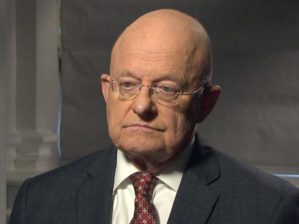 PHOTO: Former Director of National Intelligence James Clapper spoke with ABC News Brian Ross on Mar. 6, 2017 in Washington, D.C.