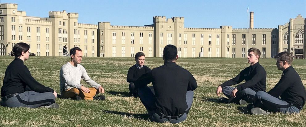 PHOTO: ABC News Dan Harris and meditation teacher Jeff Warren are seen here teaching cadets at the Virginia Military Institute in Lexington, VA, how to meditate.