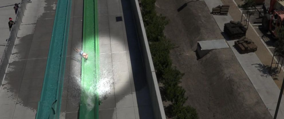 PHOTO: Video captures the terrifying moment a young boy falls off the side of a water slide at a park in Californias Bay Area.