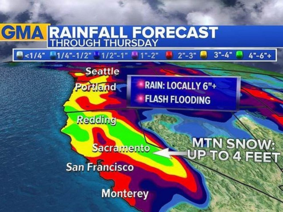 PHOTO: Copious amounts of rain are in the forecast for the west coast through the end of the week.