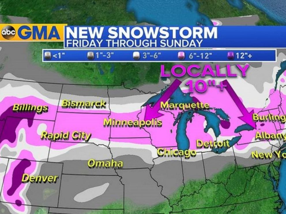 PHOTO: A winter storm will hit Minneapolis, Minnesota, early Friday afternoon before moving into the Northeast region Friday night through Saturday.