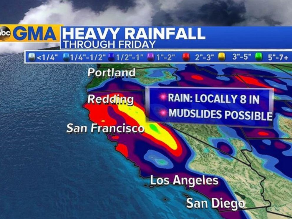 PHOTO: The National Weather Service is warning of flash flooding, rising rivers and mudslides in California, where heavy rain is expected through Friday.