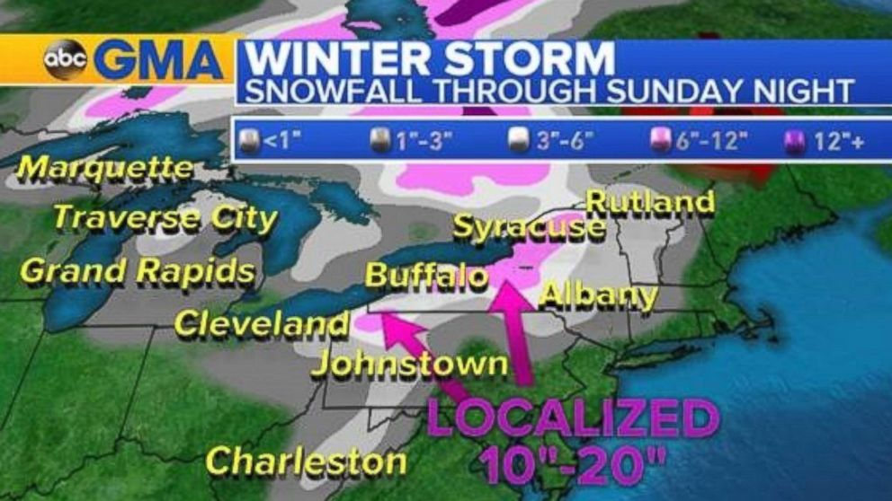 Snowfall of up to 2 feet is expected to accumulate in some areas through Sunday night.