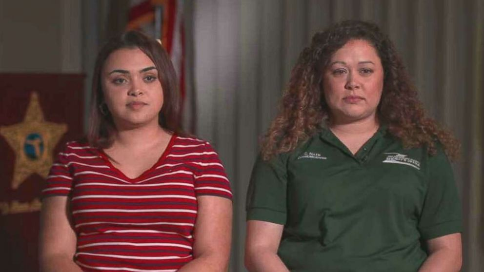 """Amanda Antonio, left, said she felt as if she'd met an """"angel"""" on Thursday, Jan. 03, 2019, when she was introduced to 911 dispatcher Cheyanne Allen, right, who helped save her life."""