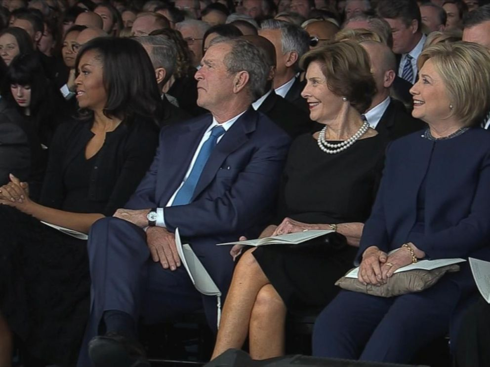 PHOTO: Michelle Obama, George W. Bush, Laura Bush and Hillary Clinton attend the funeral for Nancy Reagan, March 11, 2016, at the Ronald Reagan Presidential Library in Simi Valley, California.