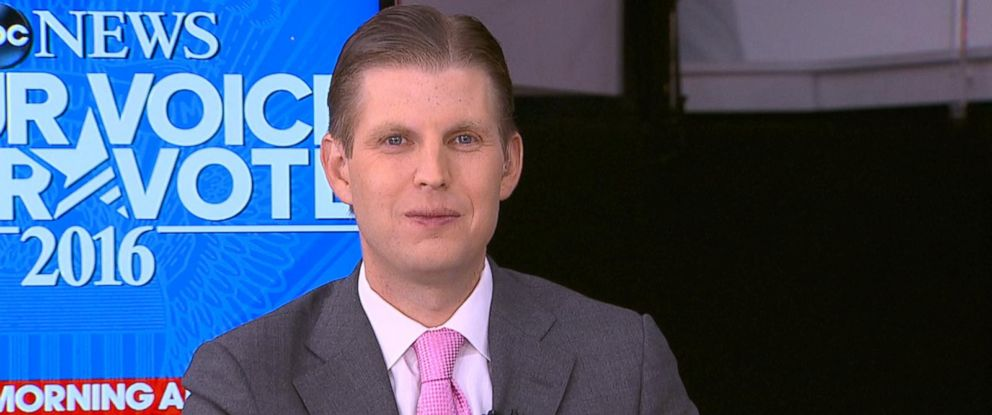 """PHOTO: Eric Trump spoke about his upcoming speech at the Republican National Convention in an interview with """"Good Morning America"""" on July 20, 2016, in Cleveland."""