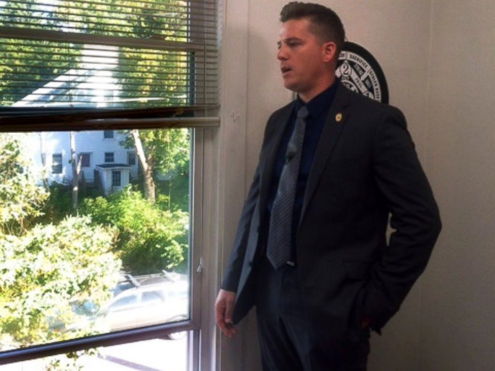 PHOTO: Interim Police Chief in Potsdam, New York, Mark Murray, stands in the house where Phillips body was found on Sept. 27, 2016. The window is how it is believed that the killer escaped.