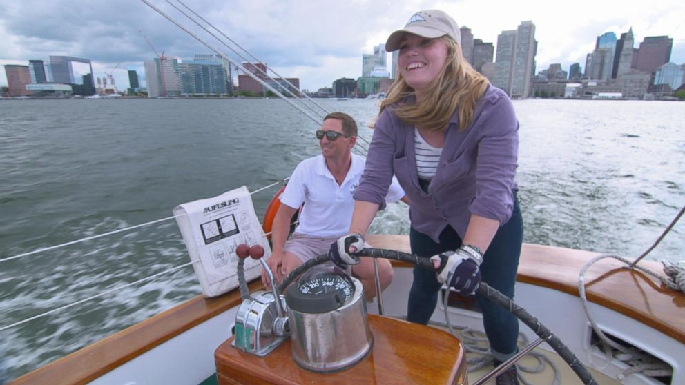 Jaycee Dugard, who is shown here sailing, got to go on a ship called the Adirondack III in June.