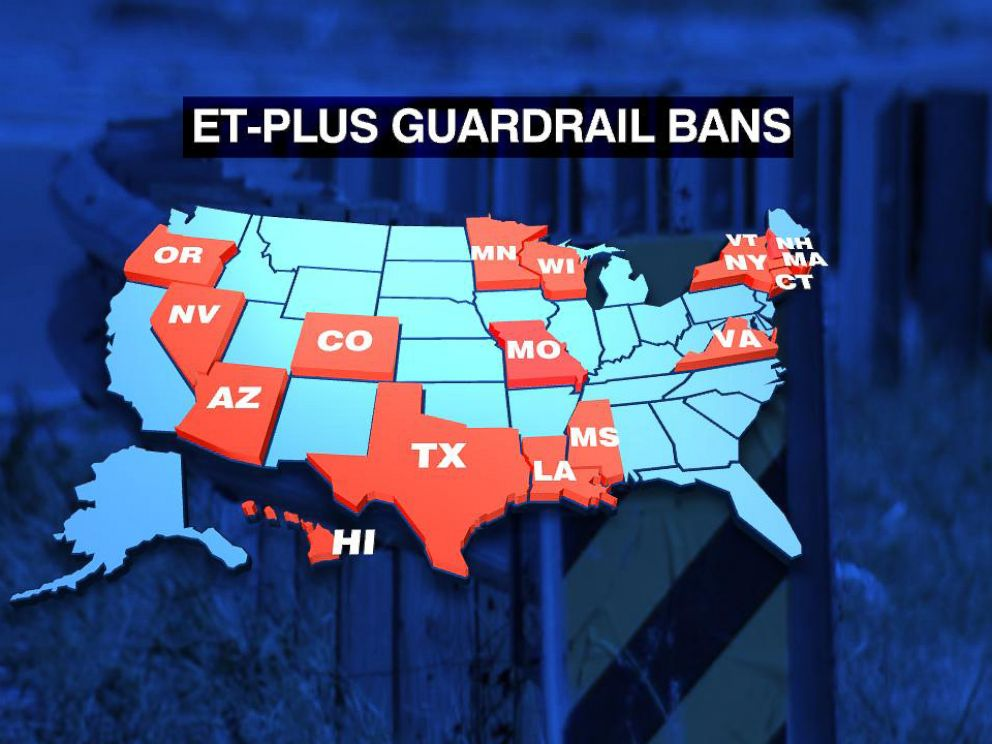 PHOTO: 17 states have suspended installation of the ET-Plus guardrail system.