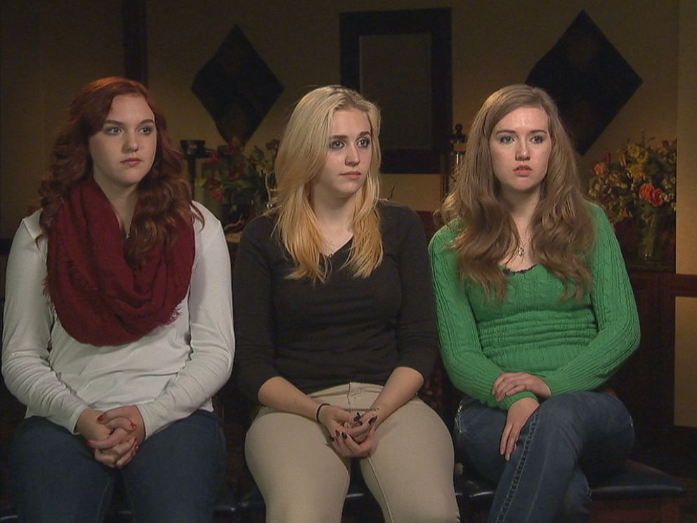 David Shepards three daughters Haley (right), Abigail (center) and Rachel Shepard (left) were present when their father took the stand at Dixons trial for murder.