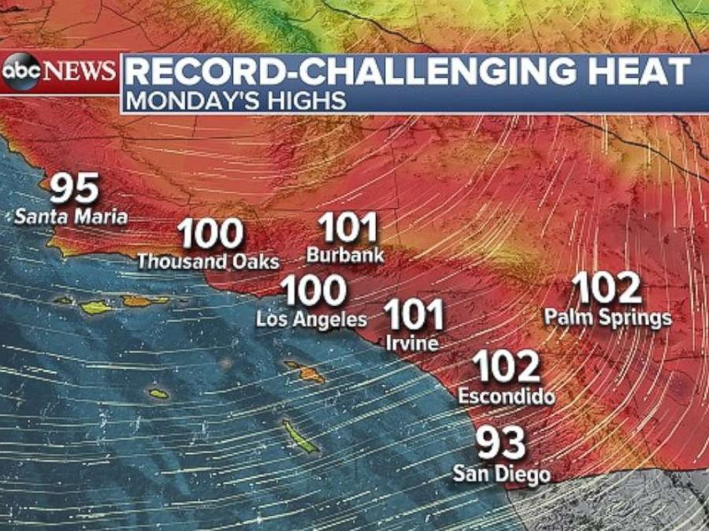 Map Of California Weather.Southern Calif At Critical Risk For Wildfires Amid Extreme Heat