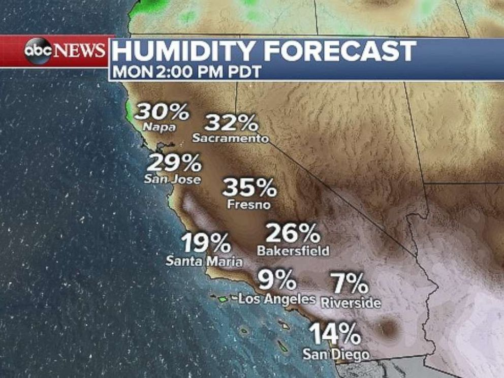 PHOTO: A weather map of Southern California, where temperatures are forecast to hit dangerous triple digits levels on Monday.