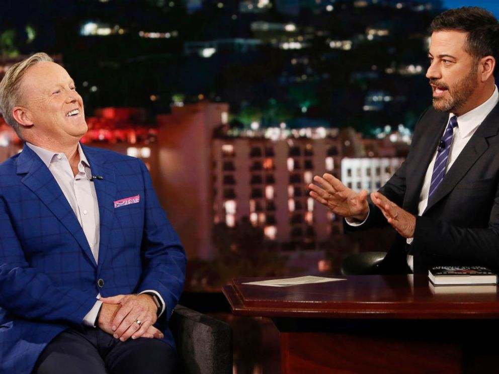 """PHOTO: Sean Spicer appeared Jimmy Kimmel Live to promote his new book """"The Briefing: Politics, The Press, and The President."""""""
