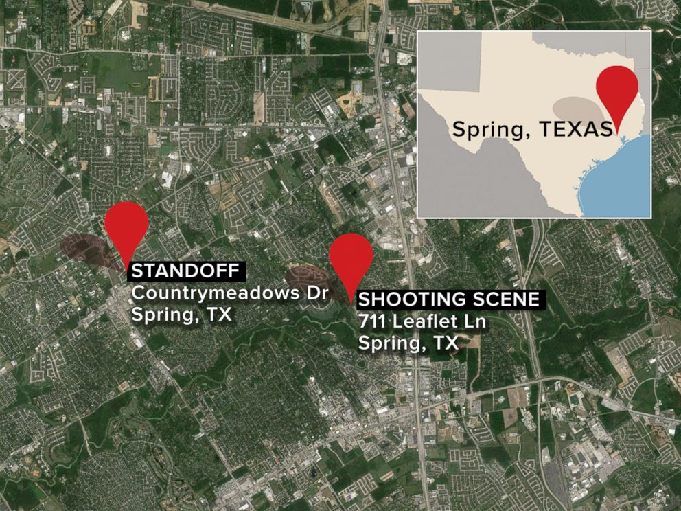 PHOTO: This map shows the location of a shooting in Spring, Texas, and where the shooting suspect engaged in a standoff with police on Wednesday, July 9, 2014