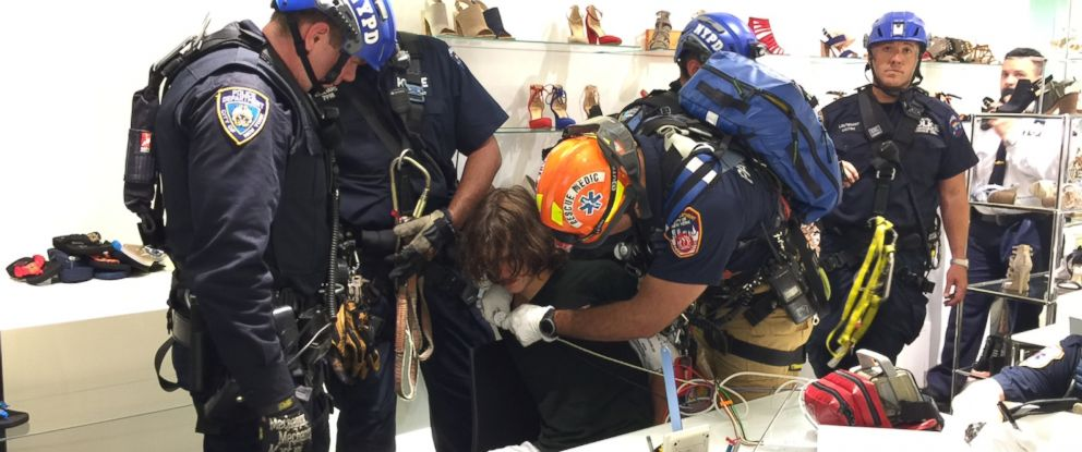 PHOTO: The 20-year-old Virginia man who scaled the side of Trump Tower is seen being evaluated by first responders.