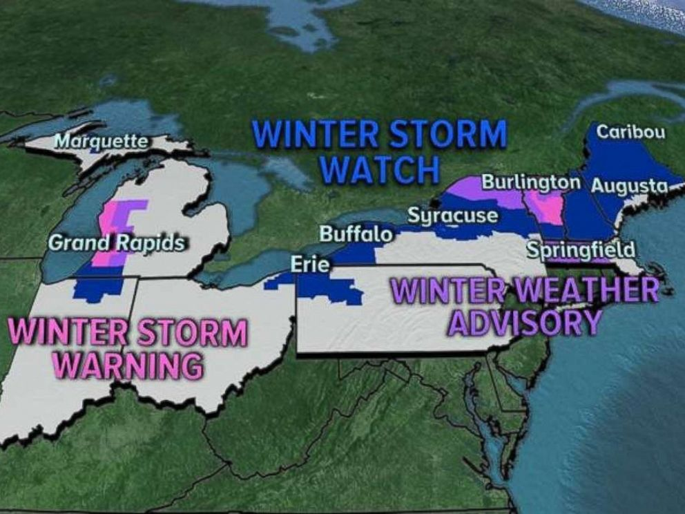 PHOTO: The NWS issued Winter Storm Watches and Warnings for nine states on Monday.