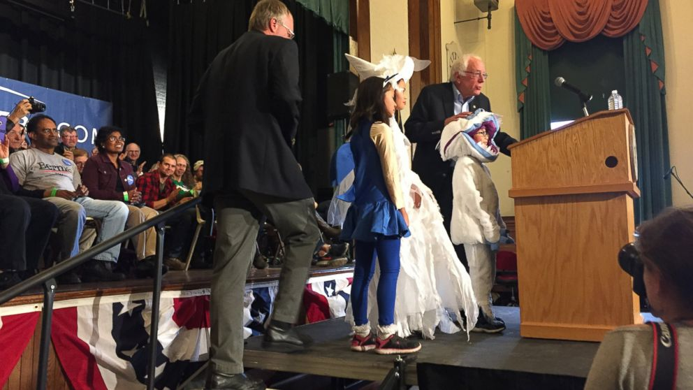 Bernie Sanders' grandchildren appear onstage in costume during a town hall meeting in Warner, New Hampshire, Oct. 31, 2015.
