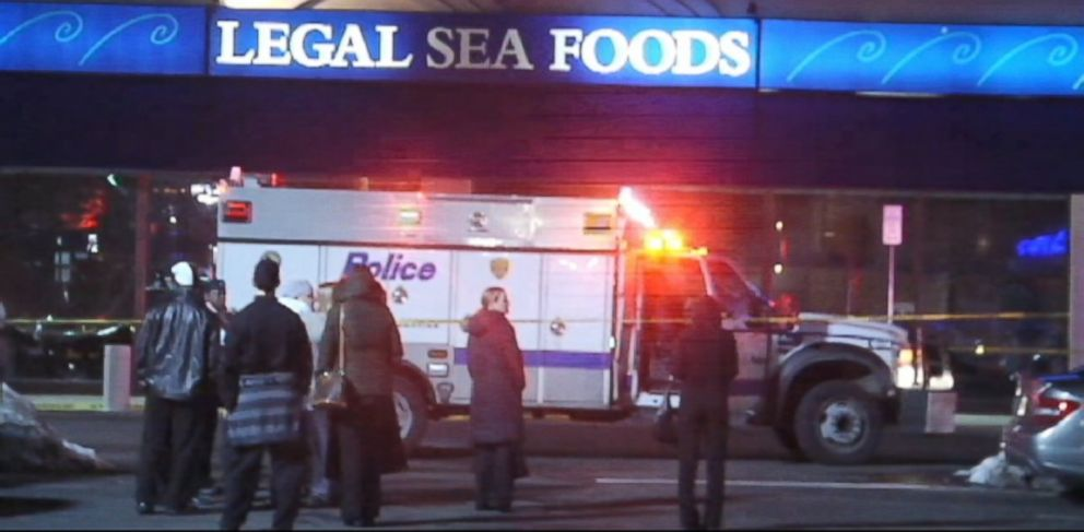PHOTO: More than two dozen people were sent to hospitals following the leak Saturday, Feb. 23, 2014, inside the Legal Sea Foods restaurant at the Walt Whitman Shops in Huntington Station on Long Island.