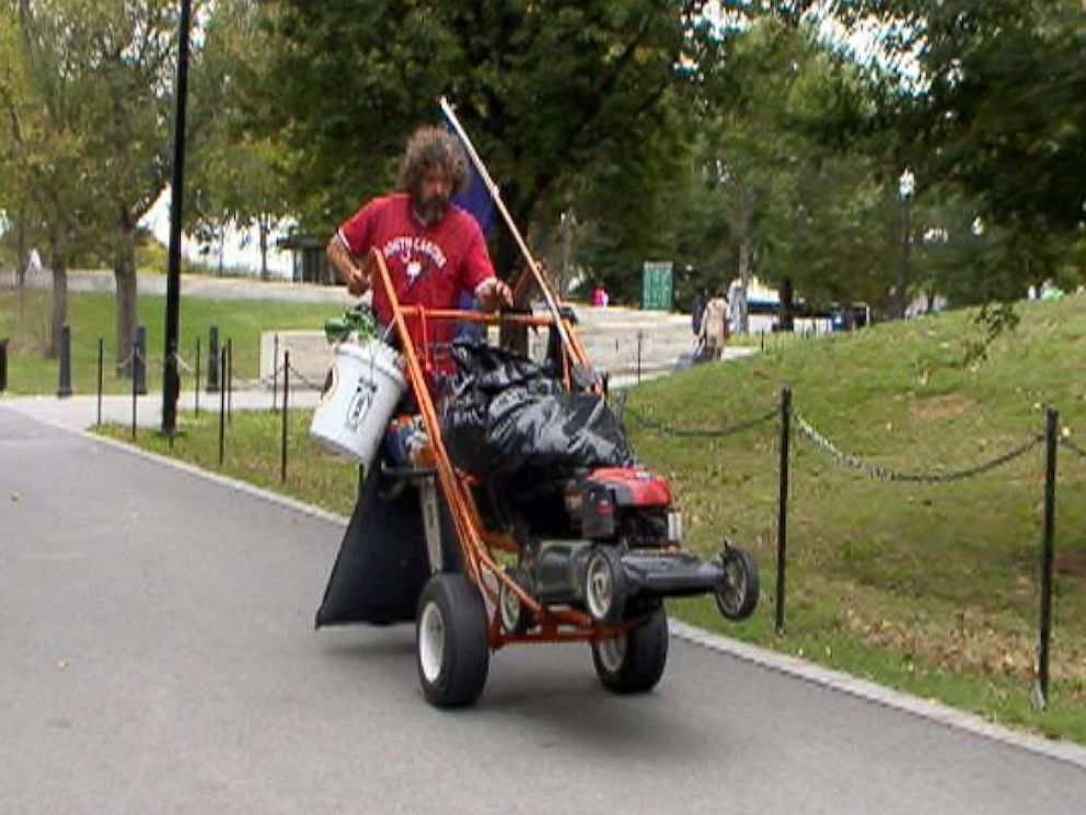 PHOTO: Chris Cox took it upon himself to mow the Lincoln Memorials lawn, Oct. 9, 2013.
