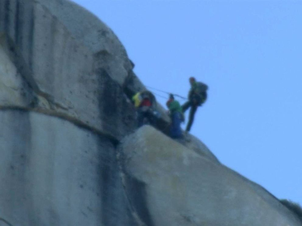 PHOTO: Tommy Caldwell and Kevin Jorgeson became the first to free-climb up the nearly vertical El Capitans Dawn Wall, Jan. 14, 2015.