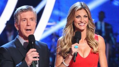 """PHOTO: Erin Andrews, right, hosts """"Dancing with the Stars"""" alongside Emmy-Award Winner Tom Bergeron for its 18th season."""