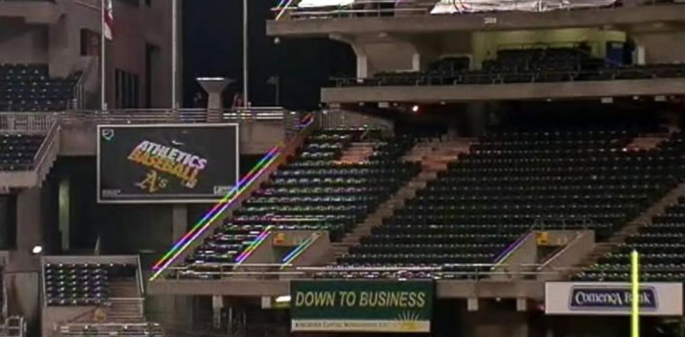 PHOTO: A woman plunged 45 feet from the third-level deck of the Oakland Raiders home stadium in Calif.