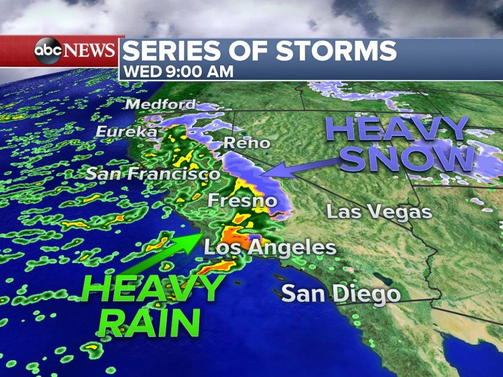PHOTO: Another storm will bring heavy rain and snow to California by Wednesday morning.