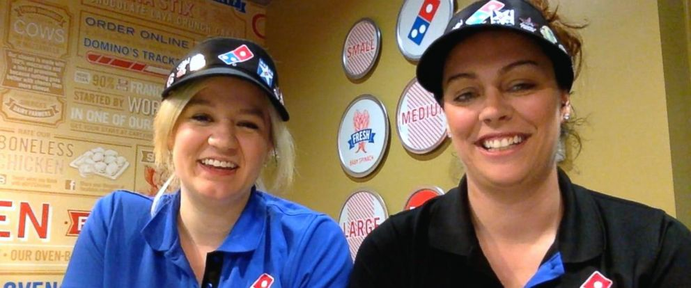 PHOTO: Dominos managers Sarah Fuller and Jenny Seiber describe how they helped save the life of a loyal customer who had skipped his routine pizza order.