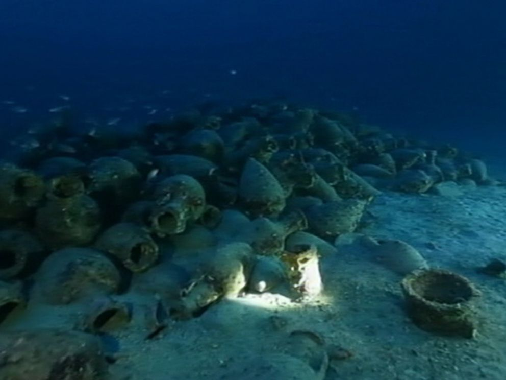 PHOTO: Divers have discovered cargo from an ancient shipwreck near the Aeolian Islands off the coast of Italy.